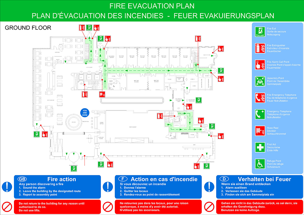 Fire evacuation plans original cad solutions for Fire plans