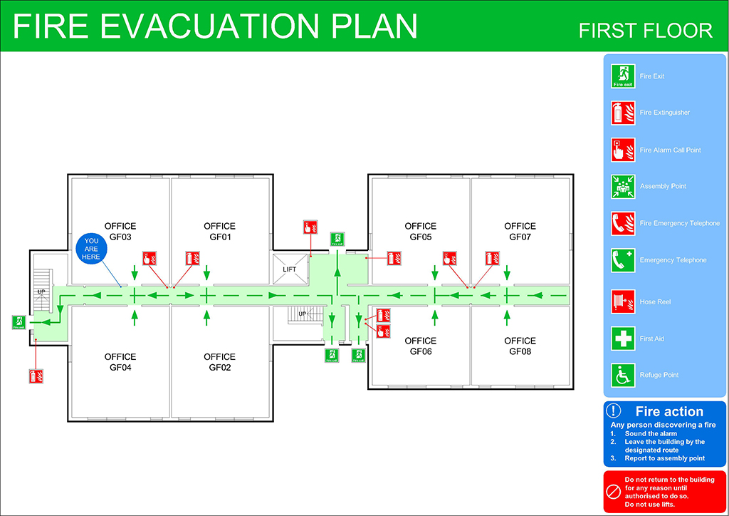 Fire evacuation plans original cad solutions for Fire evacuation plan template for office